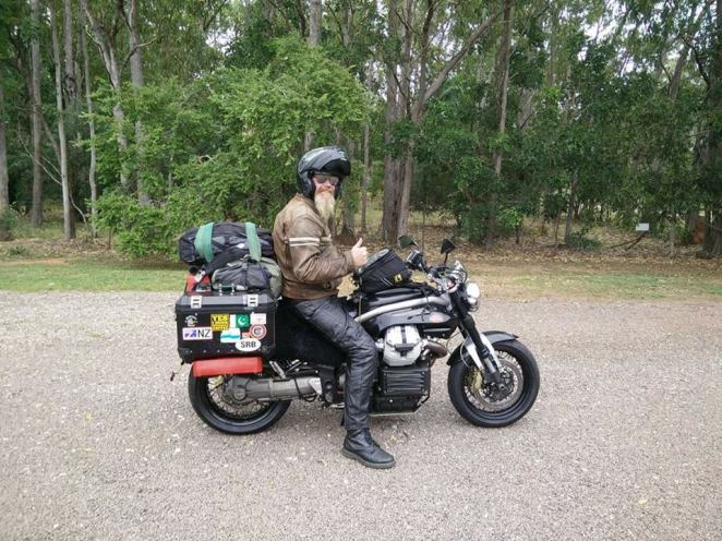 Ben and his Motoguzzi all the way from the UK